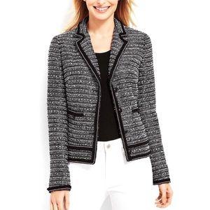 Jackets & Blazers - Talbots Fringe Trim Tweed Jacket